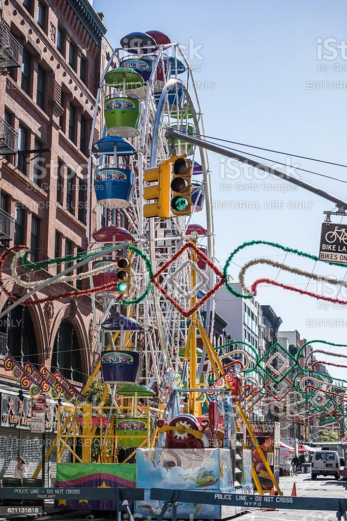 Ferris Wheel, Little Italy, New York City, USA stock photo