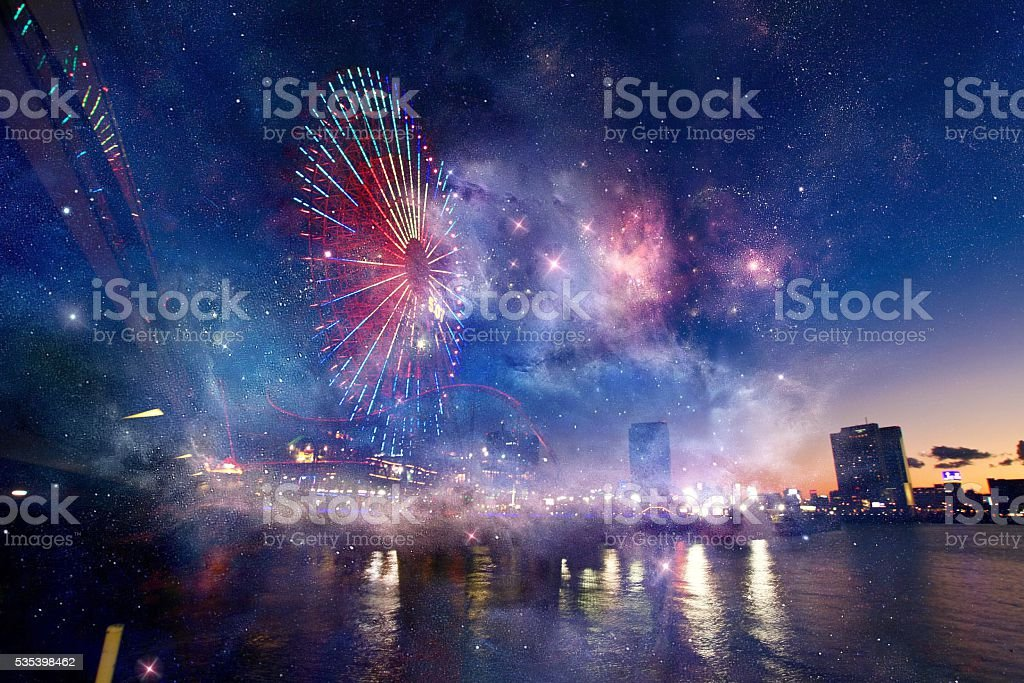 Ferris Wheel Night View (Space Effects) stock photo