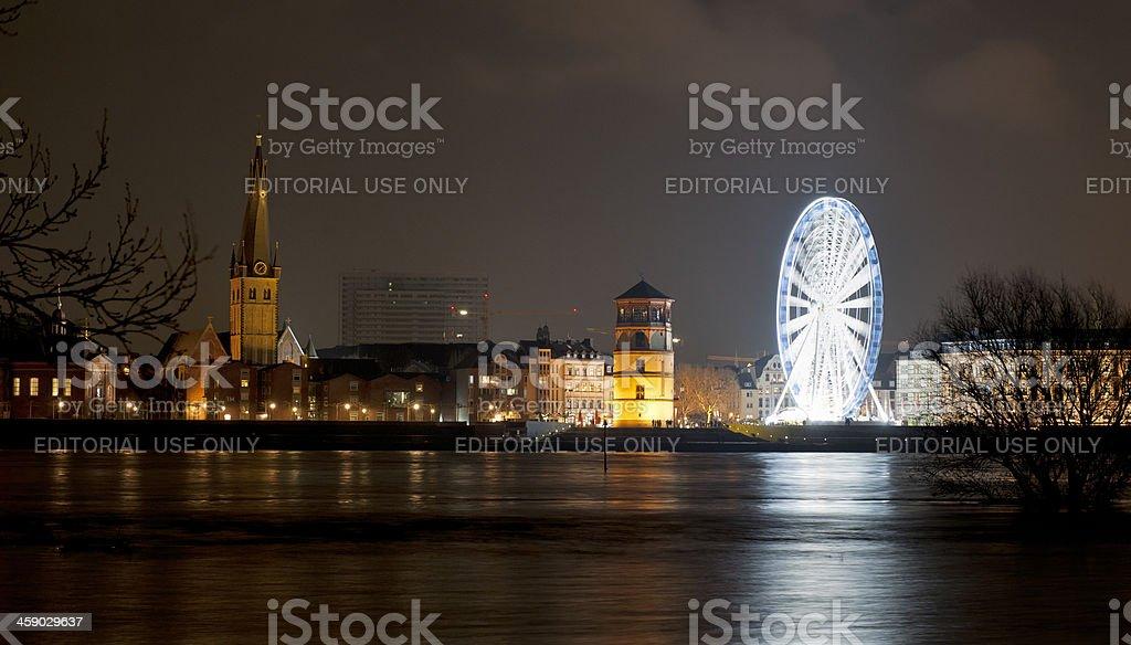 ferris wheel on Rhine Promenade in Dusseldorf at night royalty-free stock photo