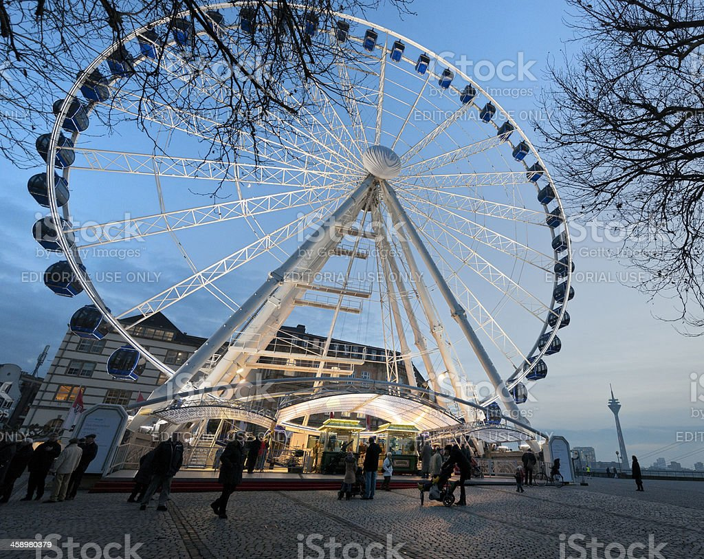 ferris wheel on Rhine Promenade in Dusseldorf Germany royalty-free stock photo