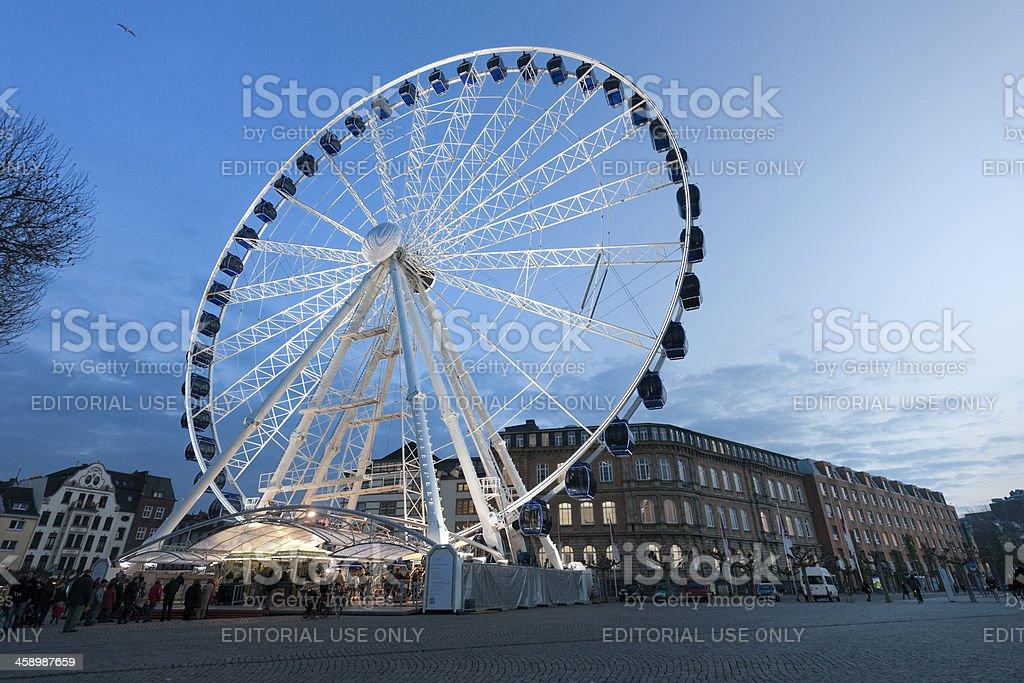 ferris wheel on Rhine Promenade in Dusseldorf Germany stock photo