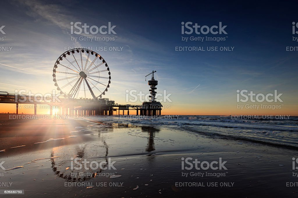 ferris wheel on the Pier at Scheveningen stock photo