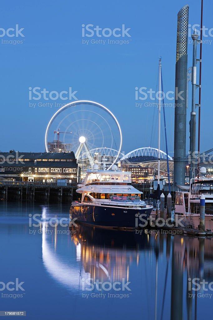 Ferris Wheel on Waterfront in Seattle stock photo