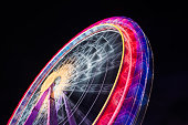 Ferris Wheel Spinning Long Exposure Neons Structure Black Night