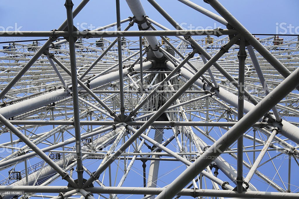 ferris wheel steel structure under the blue sky stock photo