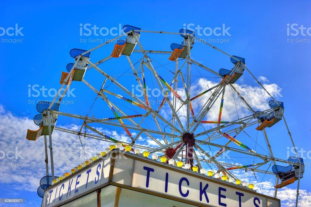Ferris wheel tickets stock photo