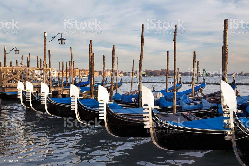 Ferro of Gondolas on Grand Canal in San Marco Quarter stock photo