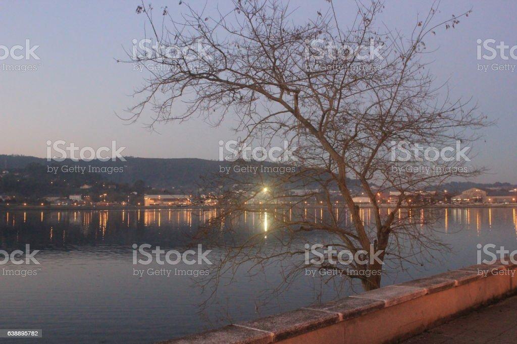Paseo marítimo de Ferrol por la noche stock photo