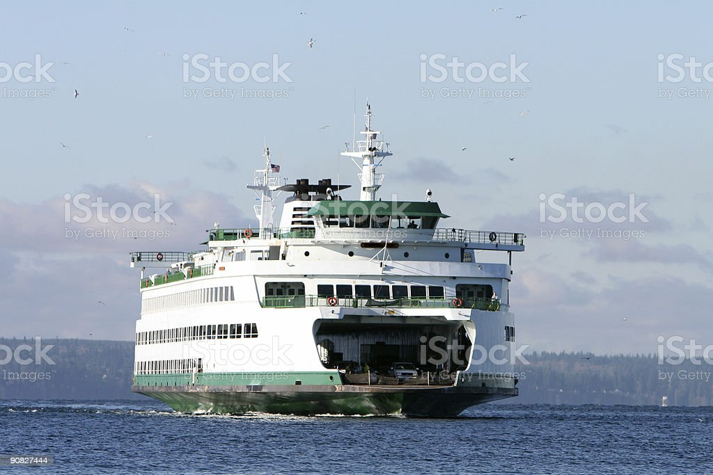 Ferry and Gulls royalty-free stock photo
