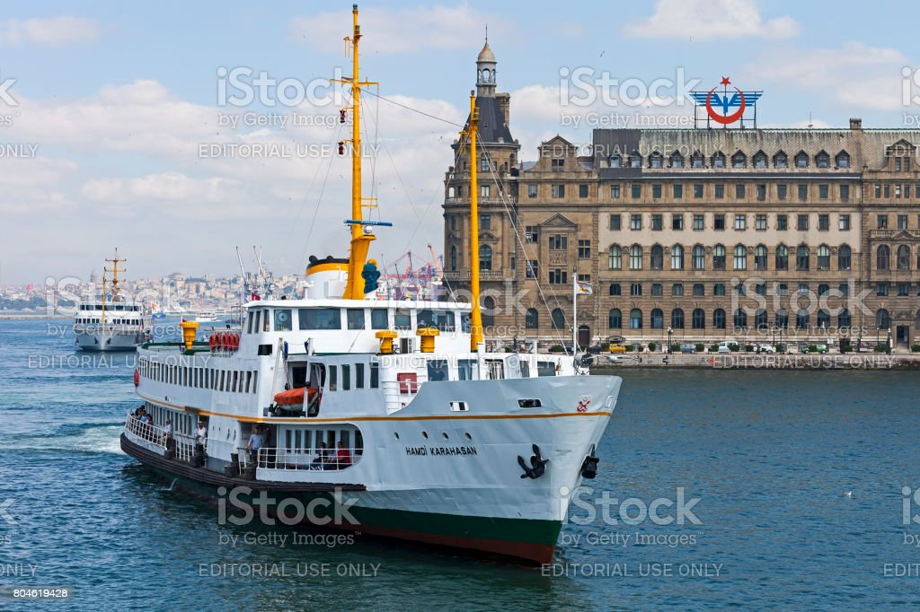 Ferry and Haydarpasa train station stock photo