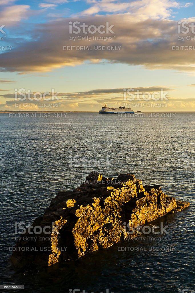 Ferry Approaches Aberdeen stock photo