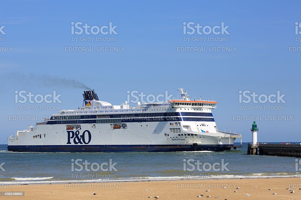 P&O ferry approaching the port of Calais in France stock photo