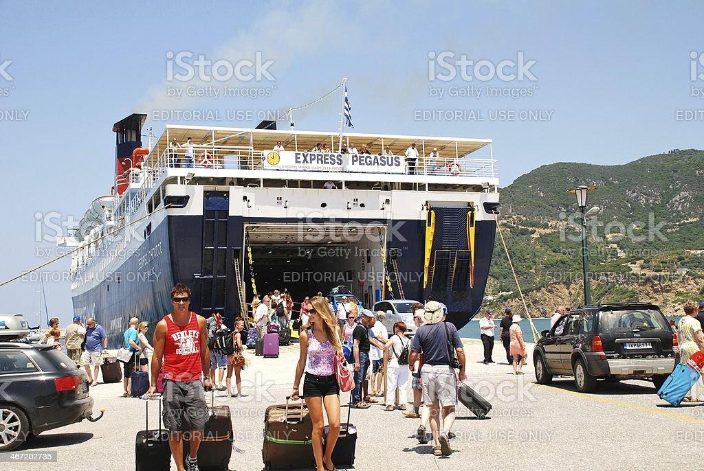 Ferry arrival, Skopelos island royalty-free stock photo
