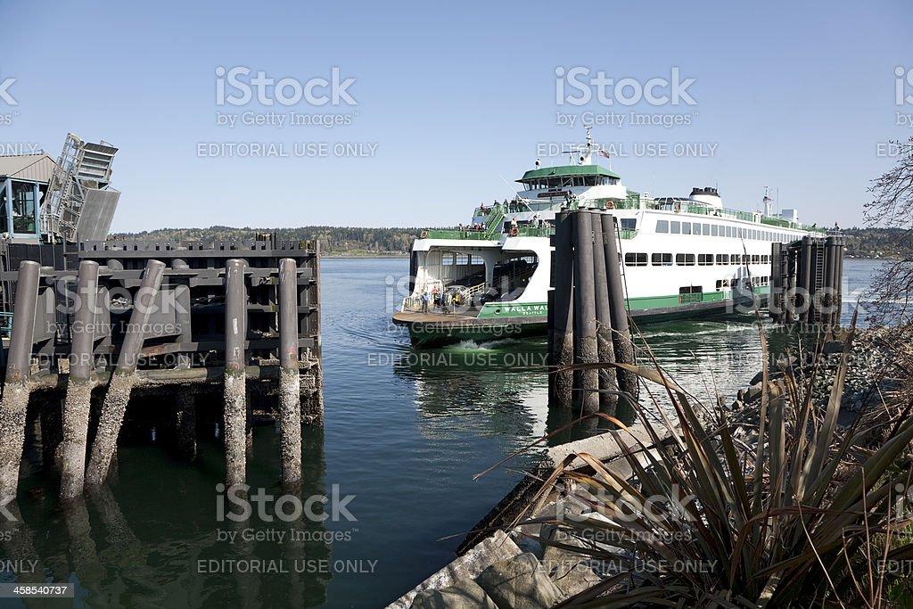 Ferry Arrives in Bremerton Washington stock photo