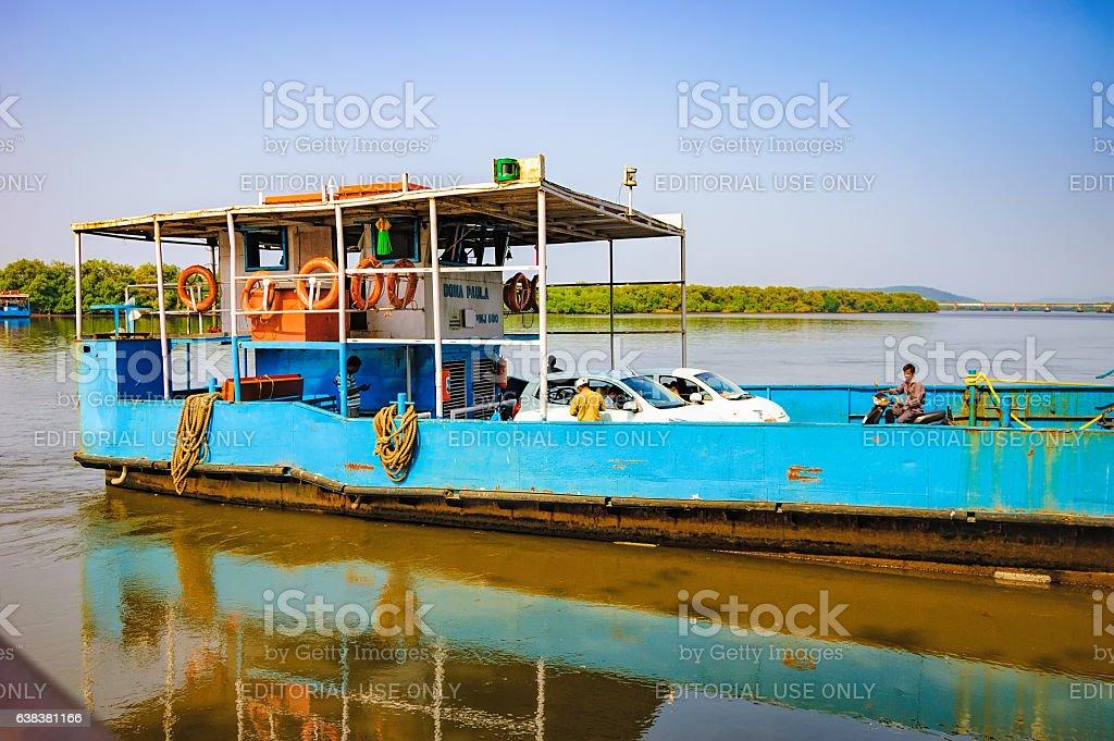 Ferry arriving to Chorao island, Goa, India stock photo