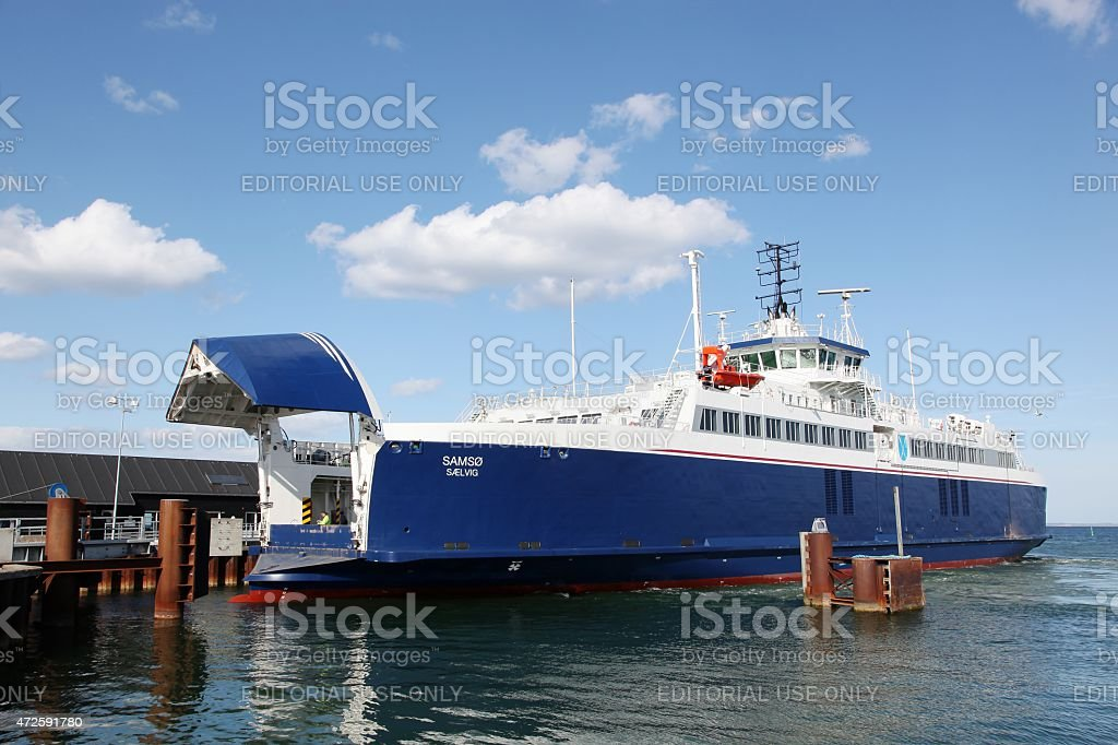 Ferry at Hou harbor in Denmark stock photo