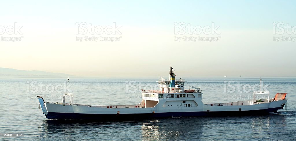Ferry at sea Strait of Messina between Sicily Calabria Italy stock photo