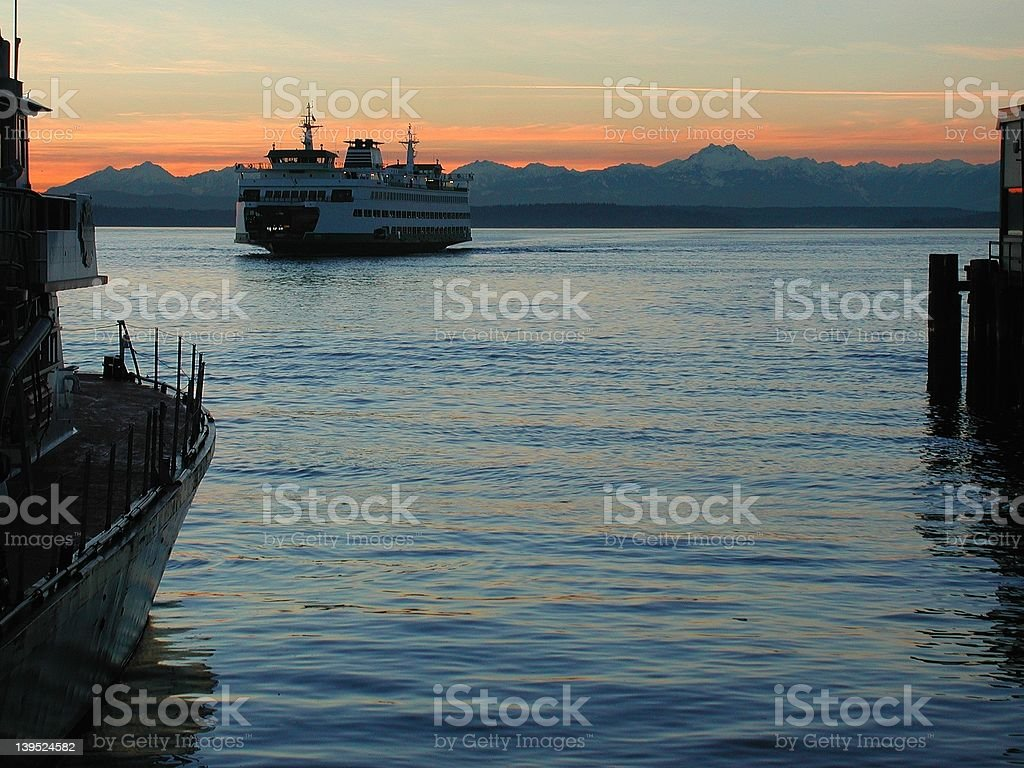 Ferry at Seattle Waterfront royalty-free stock photo