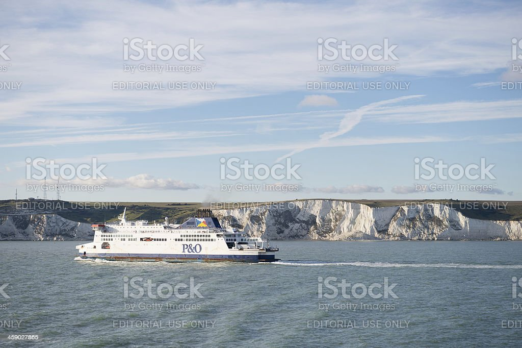 Ferry at the White Cliffs of Dover stock photo