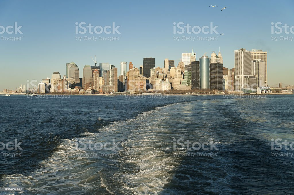 Ferry Away from Manhattan royalty-free stock photo