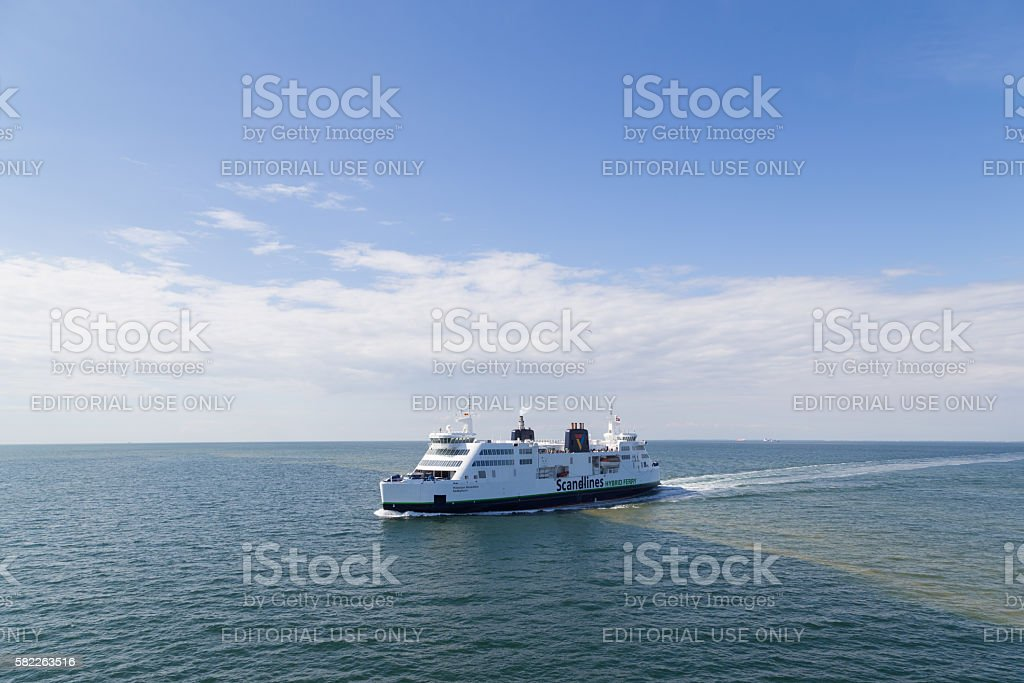 Ferry between Germany and Denmark on Baltic stock photo