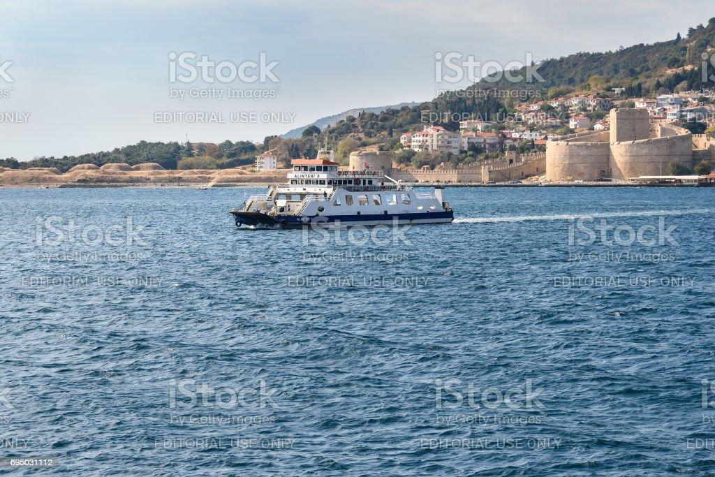 Ferry boat from Gallipoli peninsula. Turkey stock photo