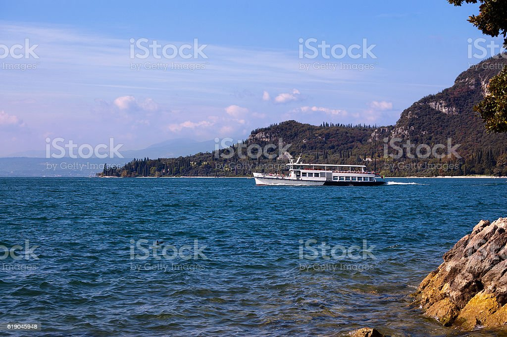 Ferry Boat - Garda Lake Italy stock photo