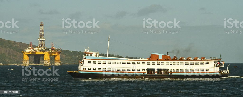 Ferry boat in the Guanabara Bay royalty-free stock photo