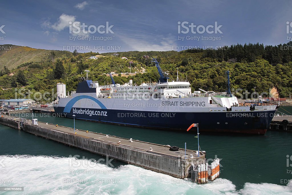 Ferry boat in the harbor stock photo