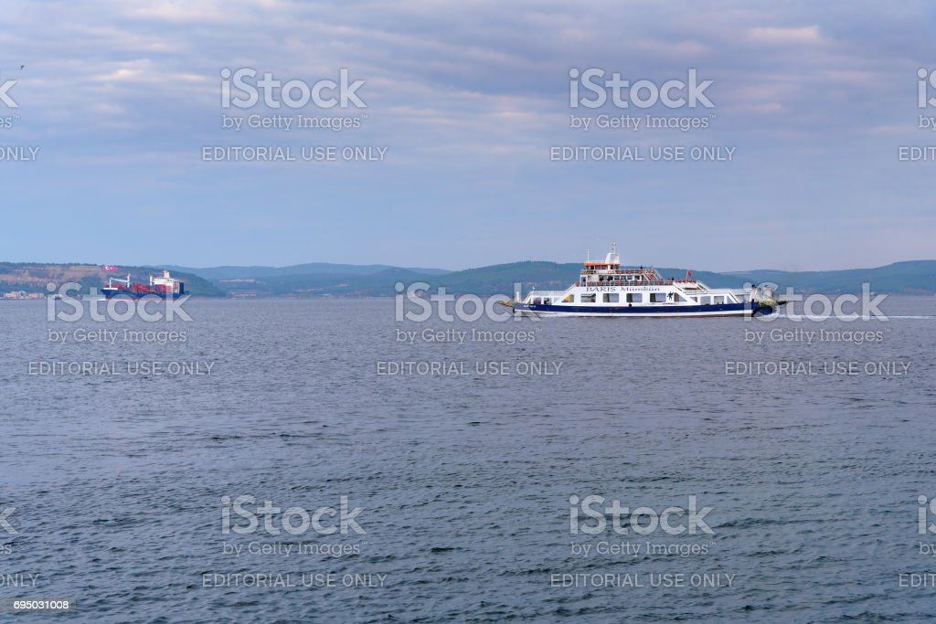 Ferry boat in the morning. Canakkale. Turkey stock photo