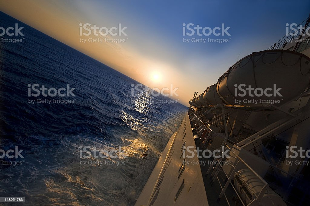 Ferry boat in the sunset royalty-free stock photo