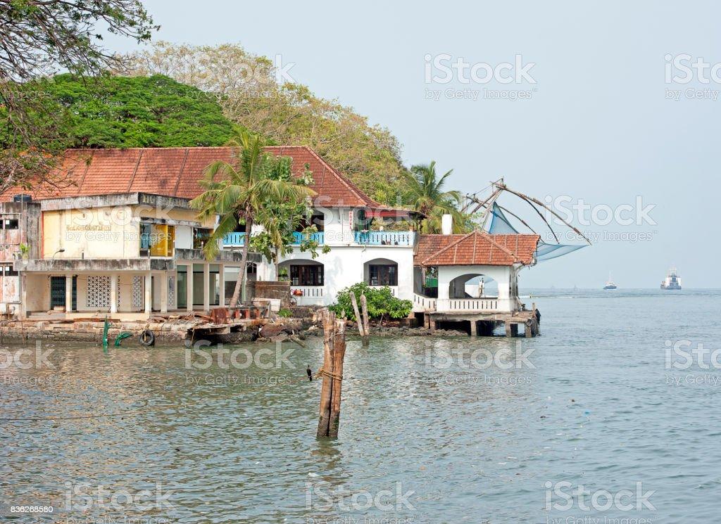 Ferry boat inlet Fort Kochi, Cochin, Kerala, Southern India. stock photo
