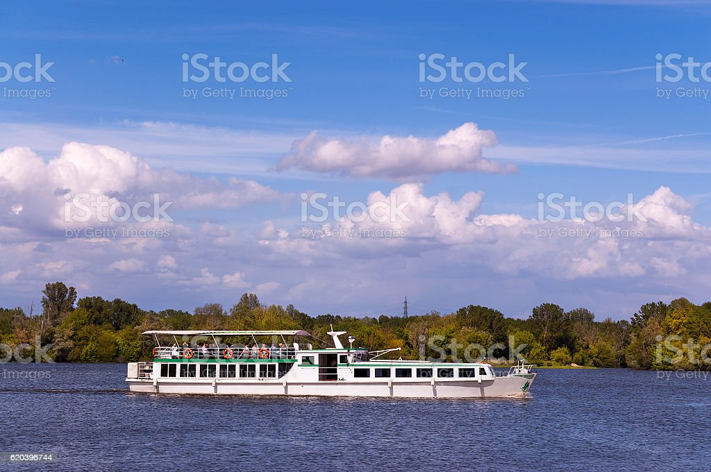 Ferry Boat - Lake of Mantova Italy stock photo