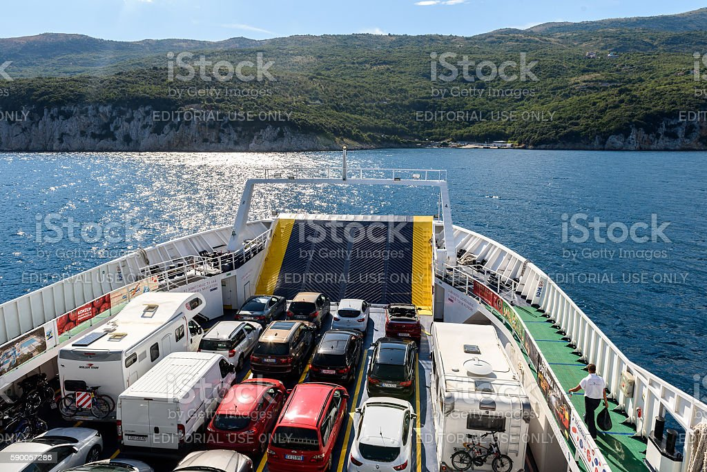 Prizna, Croatia - July 17, 2016: Ferry boat leaving Porozina stock photo