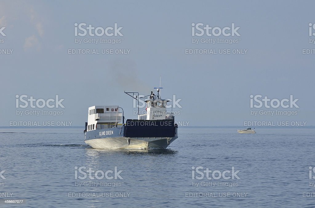 Ferry Boat Motoring on Lake Superior stock photo