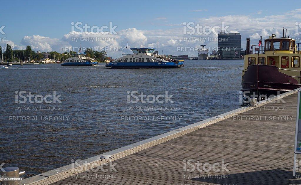 Ferry Boat Nautical Vessel in Amsterdam stock photo
