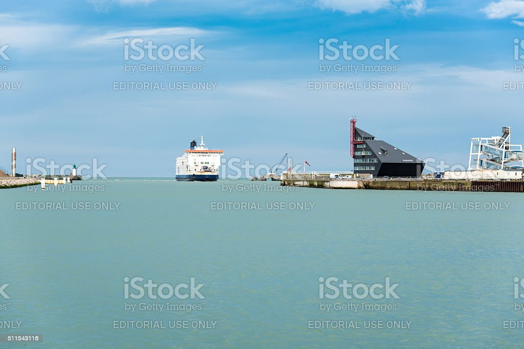 Ferry boat of P&O Company enters the port of Calais stock photo