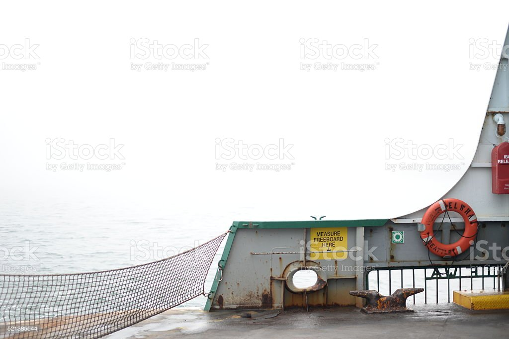 Ferry Boat on Foggy Day stock photo