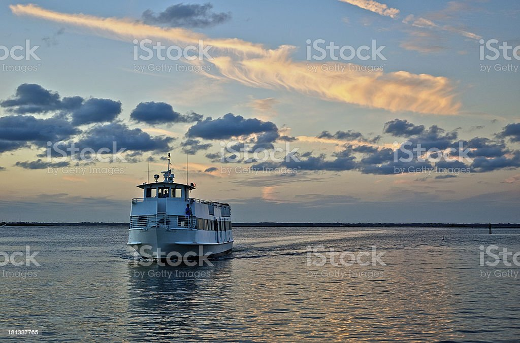 Ferry boat on Great South Bay, Long Island, New York. stock photo