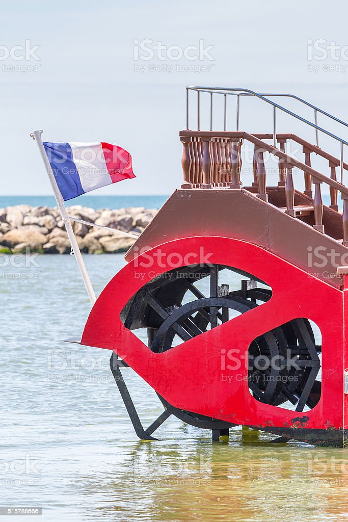 Ferry boat on Rhone River in Camargue - France stock photo