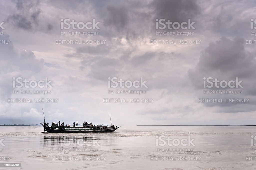 Ferry boat, on route to Majuli Island, Assam, India stock photo