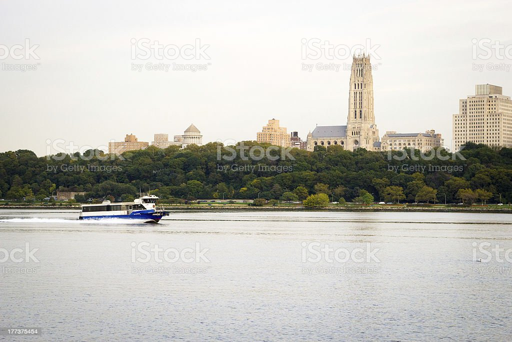 Ferry boat on the Hudson River, NYC stock photo