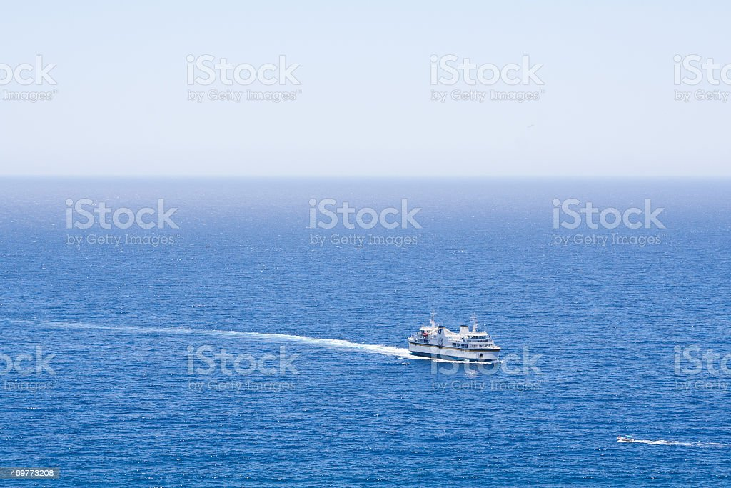 Ferry Boat On The Mediterranean Sea stock photo