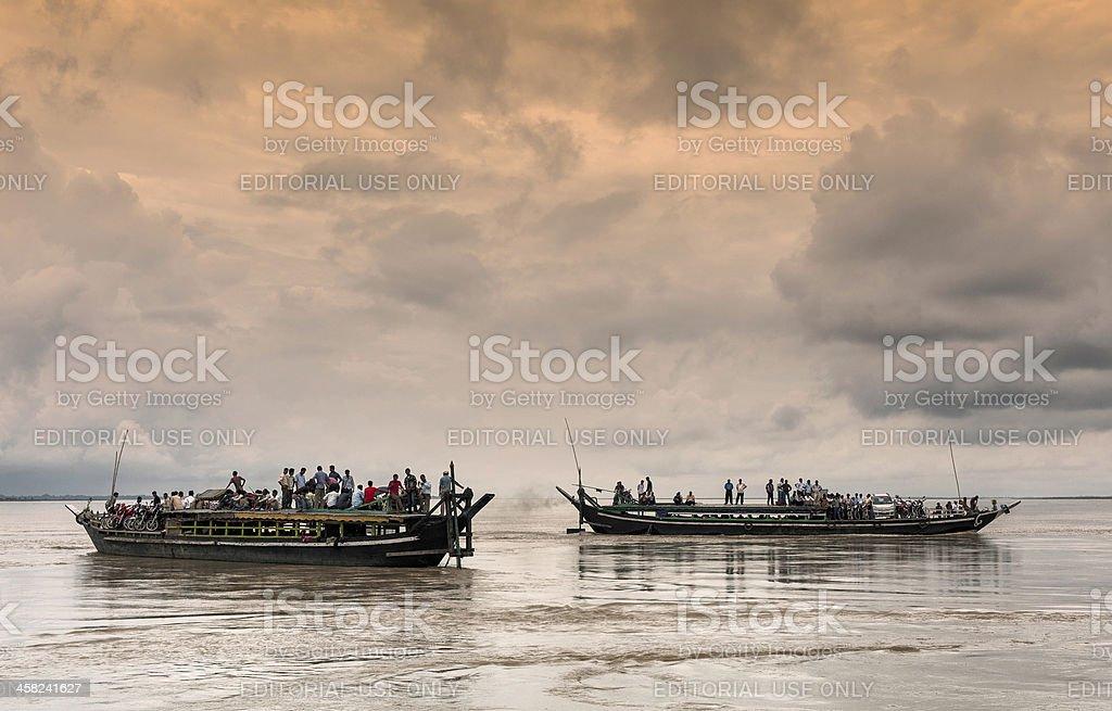 Ferry boats, Brahmaputra river, Assam India. stock photo