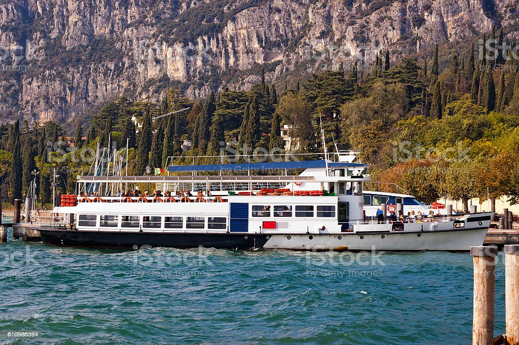 Ferry Boats - Garda Lake Italy stock photo
