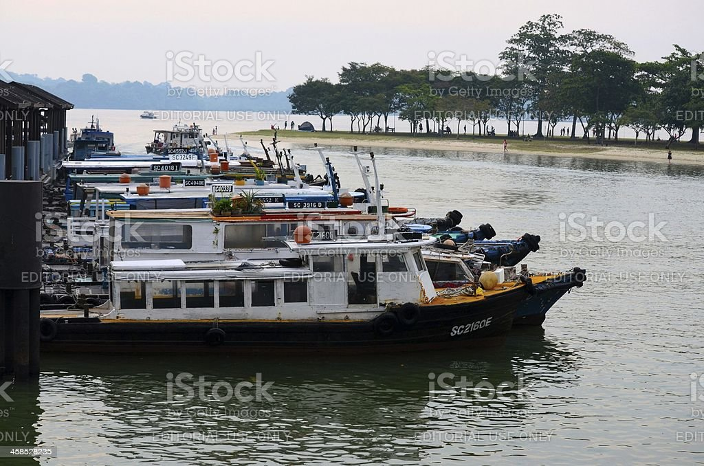 Ferry boats moored at Changi Jetty terminal, Singapore stock photo