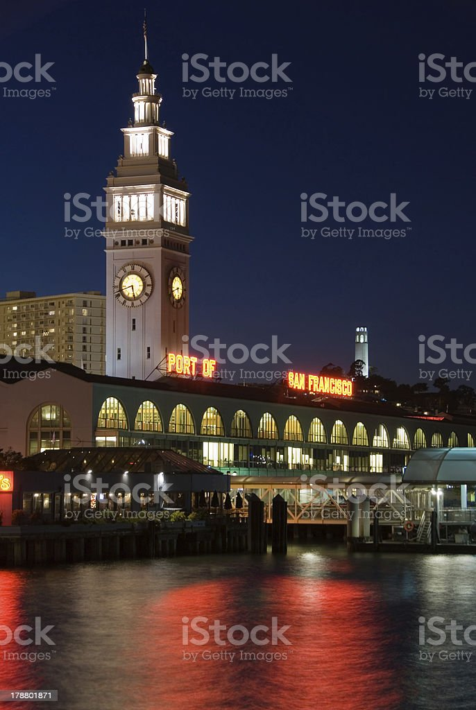 Ferry Building, San Francisco at night stock photo