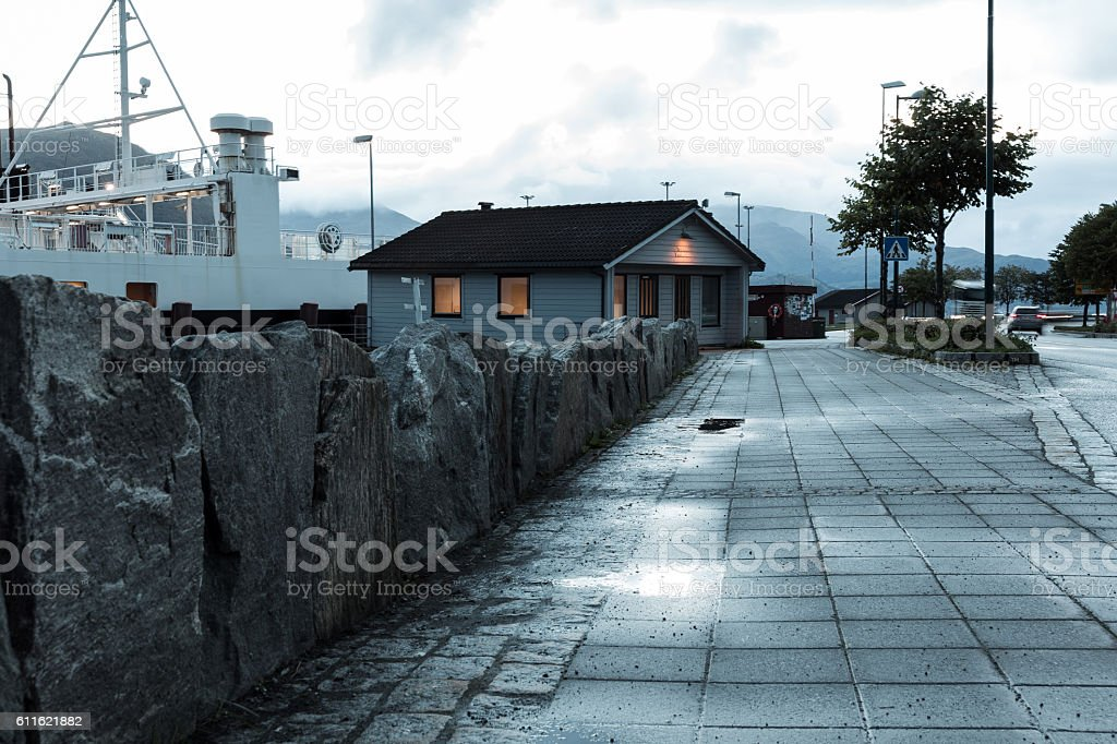 Ferry cabin in a cloudy day stock photo