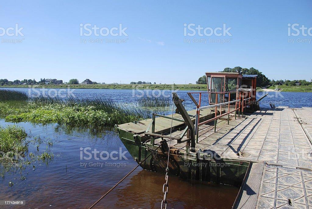 Ferry crosses a Daugava river royalty-free stock photo