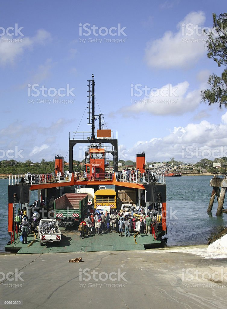 Ferry Crossing, Kenya stock photo